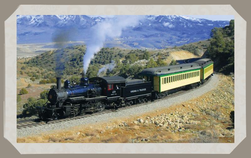 V&T Railway engine beyond the lights