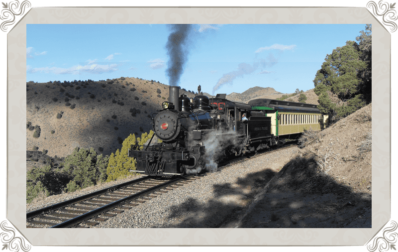 V&T Railway Virginia city to Gold hill steam train