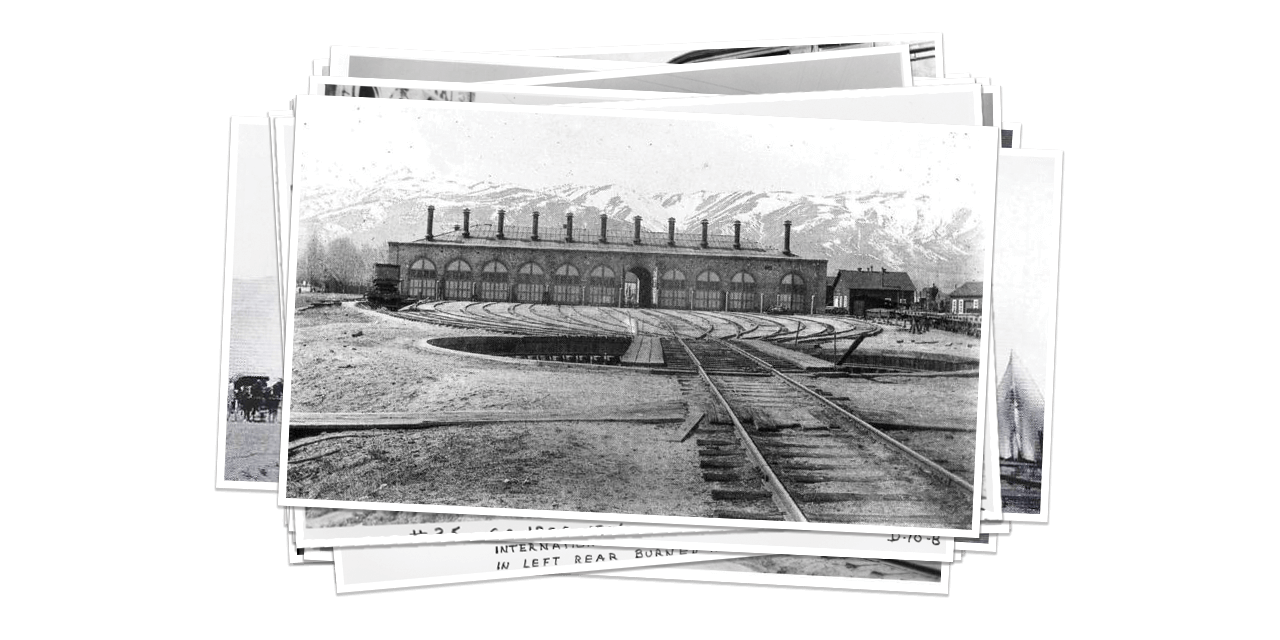 Historical Black and White Photo of Railway Building