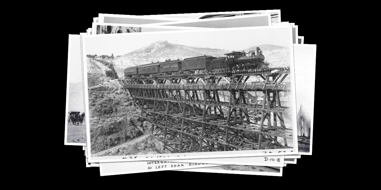 Historical Photo of V&T Railway Train on Bridge