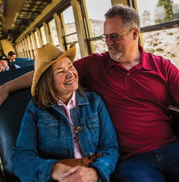 Couple Enjoys Train Ride