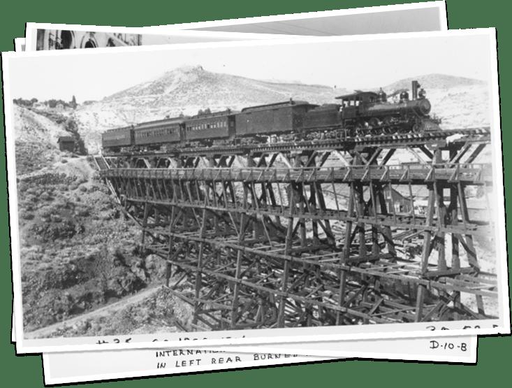 V&T Railway old train on bridge